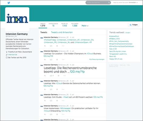 Referenz: Twitter-Channdel für Interxion